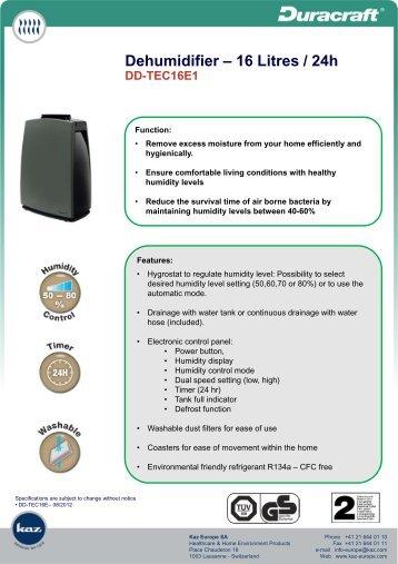 Dehumidifier – 16 Litres / 24h DD-TEC16E1 - Nordic Line