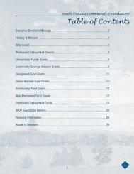 Table of Contents - South Dakota Community Foundation