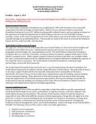 South Dakota Enhancement Project Capacity Building Grant ...