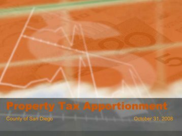 Property Tax Apportionment - County of San Diego