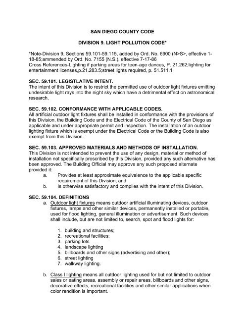 Light Pollution Code - County of San Diego - State of California