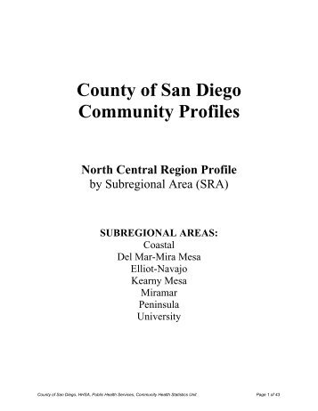 County of San Diego Community Profiles North Central Region Profile