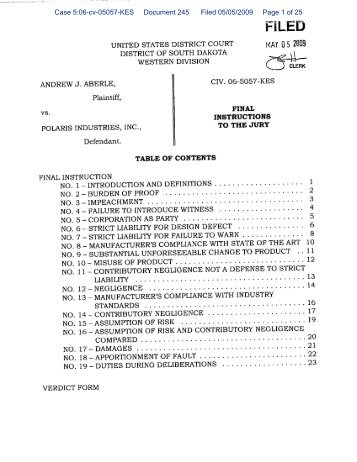 Case 5:06-cv-05057-KES Document 245 Filed 05/05/2009 Page 1 ...