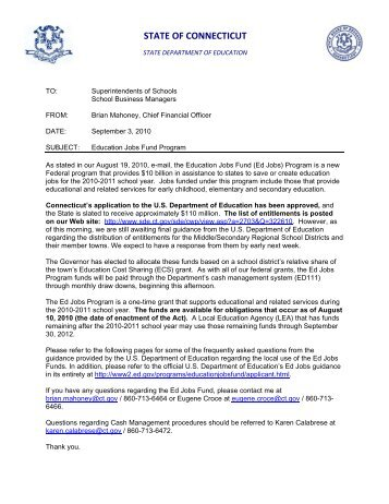 Memorandum to Superintendents and School Business Managers ...