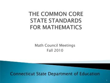 Adopted CCSS - Connecticut State Department of Education - CT.gov