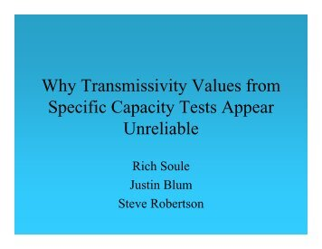 Why Transmissivity Values from Specific Capacity Tests Appear ...