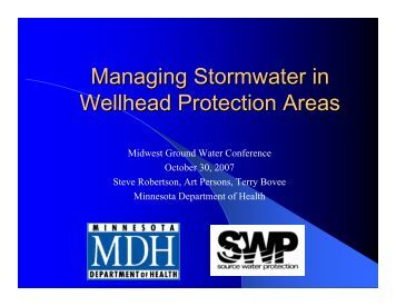 Managing Stormwater in Wellhead Protection Areas