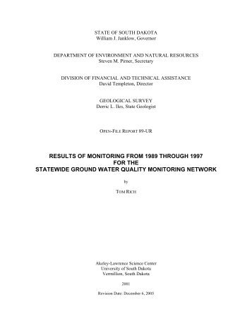 results of monitoring from 1989 through 1997 for the statewide ...