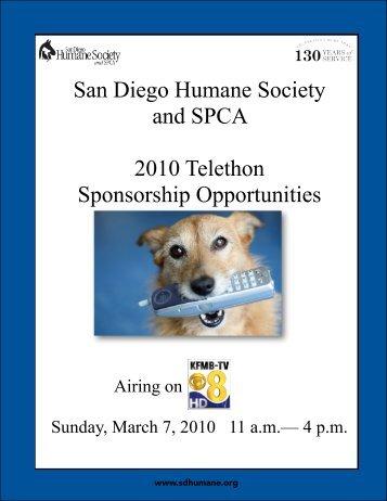 San Diego Humane Society and SPCA 2010 Telethon Sponsorship ...