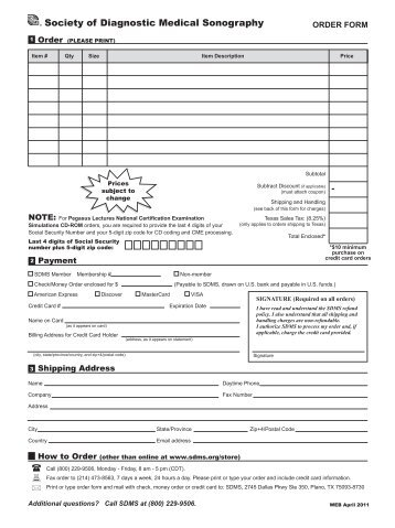 Mail-In Order Form For Payments By Money Order Only