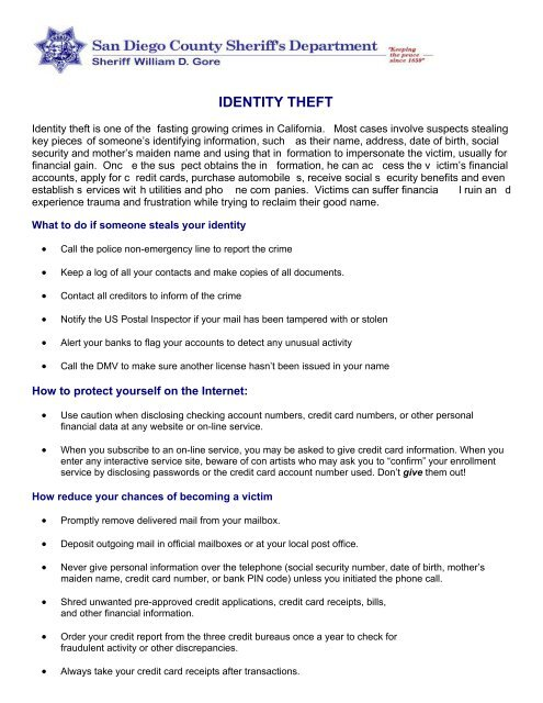 IDENTITY THEFT - San Diego County Sheriff's Department