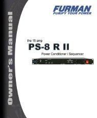 PS-8R II - POWER CONDITIONER / SEquENCER - Furman Sound