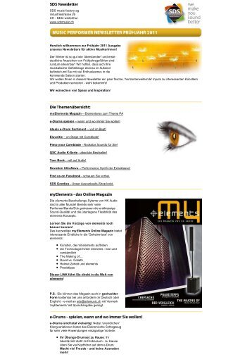 sdsmusic.ch - Newsletter - SDS Music Factory AG