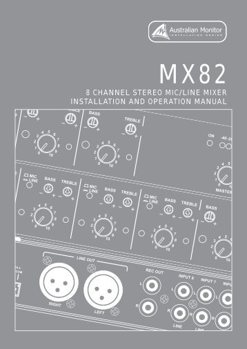 8 channel stereo mic/line mixer installation and operation manual