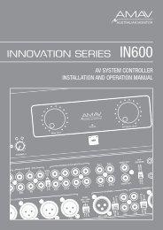av system controller installation and operation manual - SDS Music ...