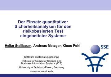 Risikobasiertes Testen mittels quantitativer ... - SE 2010