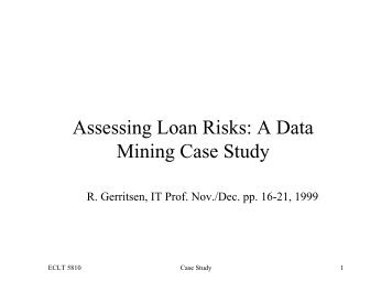 "data mining case studies education Central tendency case, data mining has a tendency to disaggregate the whole ""use data mining to improve student retention in higher education: a case study."