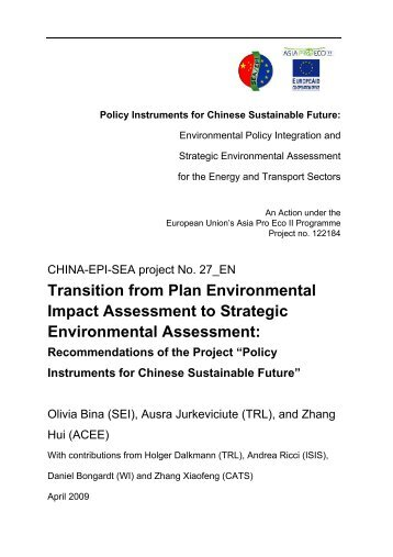 Transition from Plan Environmental Impact Assessment to Strategic ...