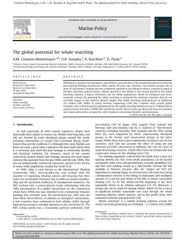 The global potential for whale watching - Caribbean Environment ...