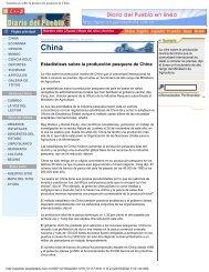 Estadísticas sobre la producción pesquera de China