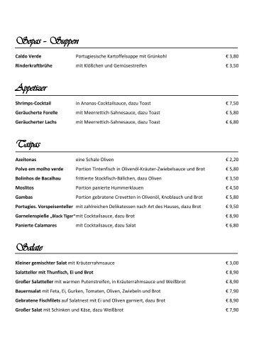 Speisekarte öffnen - Restaurant Cantinho