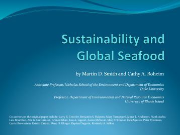 Download the presentation - Seafood Choices Alliance
