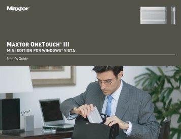 OneTouch III Mini Edition for Windows Vista User's Guide ... - Seagate