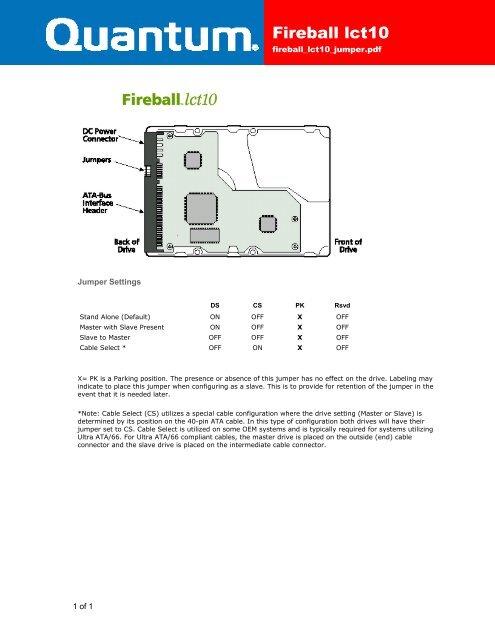 Fireball lct10 ATA Jumpers - Seagate