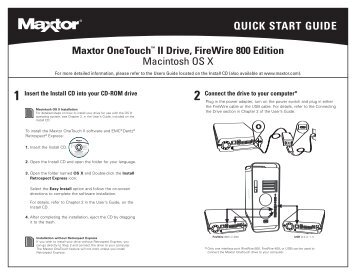 Maxtor OneTouch III FireWire 400/USB 2.0 Quick Start Guide, US