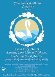 Cleveland City Dance Company Swan Lake, Act II Sunday, June ...