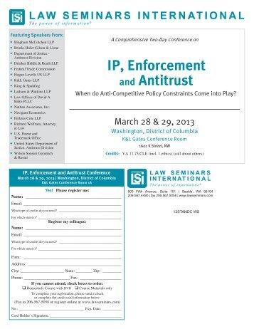 IP, Enforcement and Antitrust - Law Seminars International