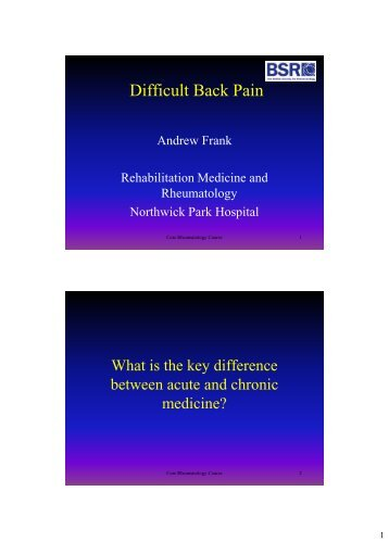 Difficult Back Pain - The British Society for Rheumatology
