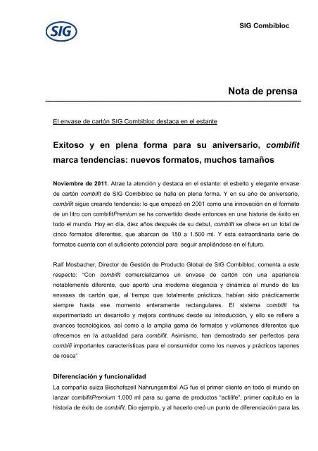 Descargar nota de prensa 111116 (PDF, 71kb) - SIG Combibloc