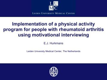 Implementation of a physical activity programme for people with ...