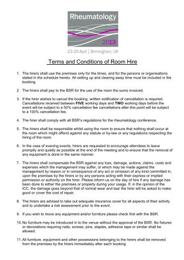 Terms and Conditions of Room Hire