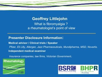 Geoffrey Littlejohn – Presenter Disclosure Information