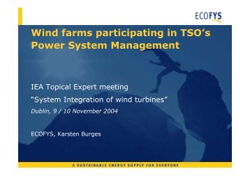 Wind farms participating in TSO's Power System Management