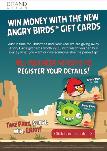 WIN MONEY WITH THE NEW ANGRY BIRDS GIFT CARDS