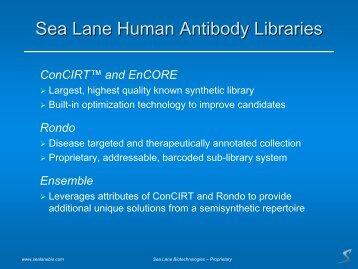 Sea Lane Human Antibody Libraries - Sea Lane Biotechnologies, LLC