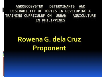 agroecosystem determinants for the desirability of ... - SEAMEO