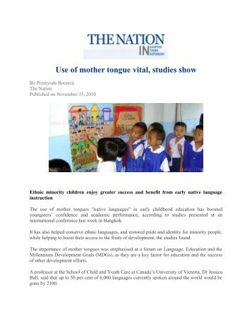 """""""Use of mother tongue vital, studies show"""", 15 November 2010, The ..."""