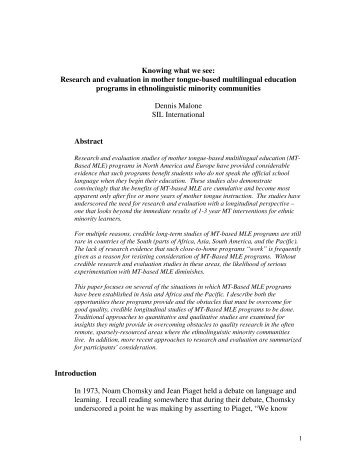 Research and evaluation in mother tongue-based ... - SEAMEO