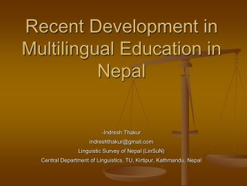 Recent Development in Multilingual Education in Nepal