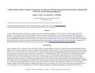 A Pilot Project: Passive Seismic Experiment for Reservoir Monitoring ...
