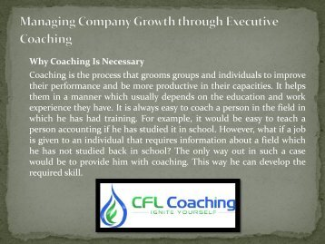 Managing Company Growth through Executive Coaching