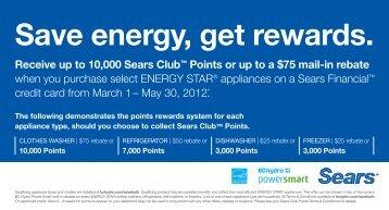 Save energy, get rewards. - Sears Canada
