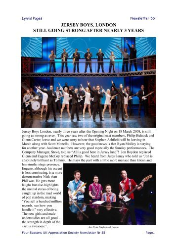 jersey boys, london still going strong after nearly 3 years