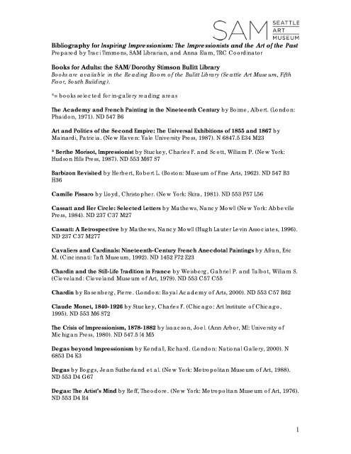 Bibliography For Inspiring Impressionism Seattle Art Museum