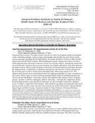Advance Exhibition Schedule for Seattle Art Museum, Seattle Asian ...