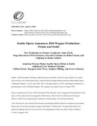 Seattle Opera Announces 2010 Wagner Production: Tristan und Isolde